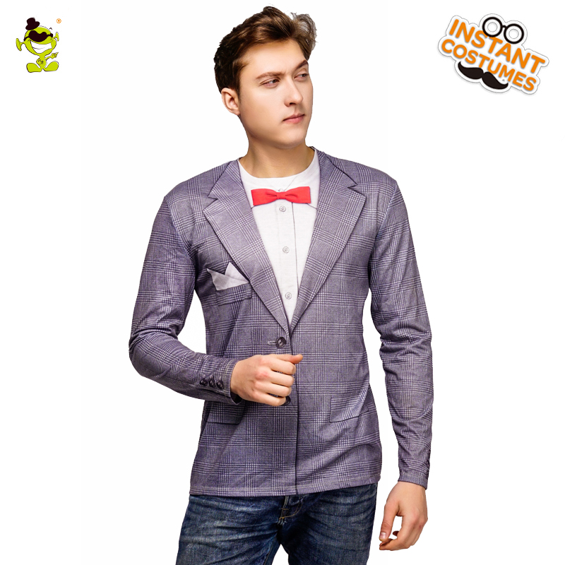 Men's Tuxedo Printed T-shirt Costume Party Design New style Long Sleeve 3 D Printed Tees Cosplay Tops Cool Shirts