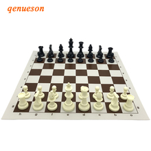 New High Quality Exquisite Standard PVC Solid Plastic Chess Set Portable Leather Chess Board Children Gift Puzzle Games qenueson high quality chess magnetic mini portable plastic chess set board games for friends children s