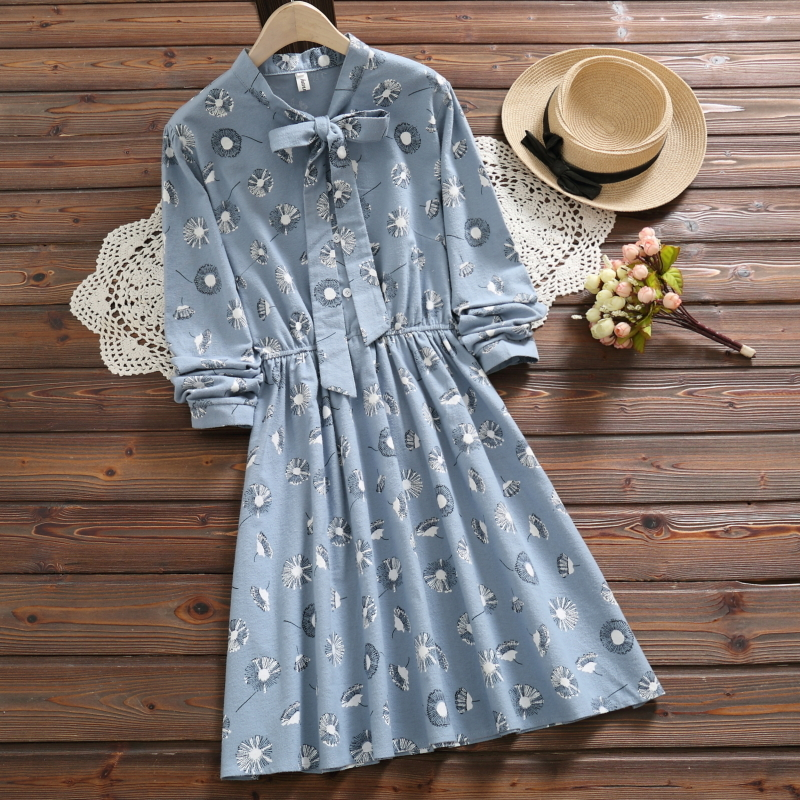 2019 Mori Girls Spring Autumn Women Sweet <font><b>Dress</b></font> Bow Collar <font><b>Pink</b></font> Lion's Tooth Female Vestido Long Arm Elegant Cotton Clothes image