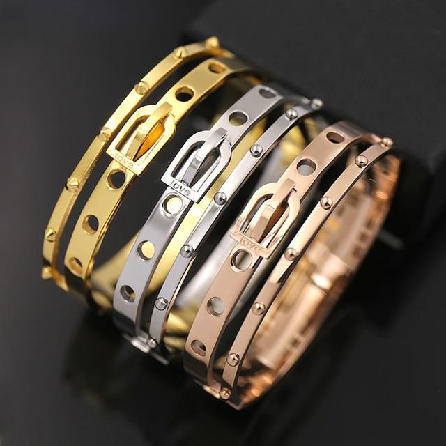 2016 Fashion titanium steel jewelry for women men double belt buckle drilling rivet punk bracelet&bangle Three color