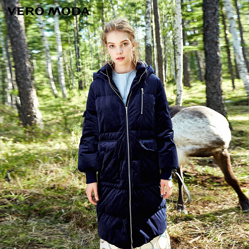 Vero Moda Medium style hooded velvet dual-zipper   down     coat   winter jacket women|317312531