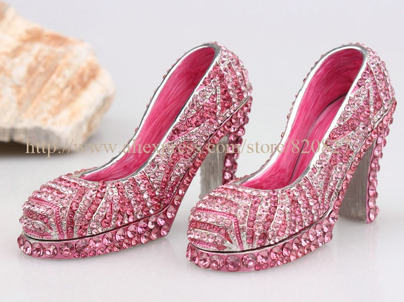 Miniature High Heel Women Shoe Trinket Girl Shoe Trinket Box Heels Shoes Handmade Jeweled Enameled Metal Trinket Box