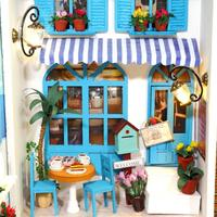 LeadingStar Dollhouse Miniature House Book WoodTea Cafe House with LED Furniture Kit Girl Gift Toy, Summer Vacation Diary zk35
