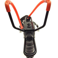Black Sturdy Steel Frame with Laser Sight Slingshot Model with Red Powerful Elastic Band and Wrist Support Bracket