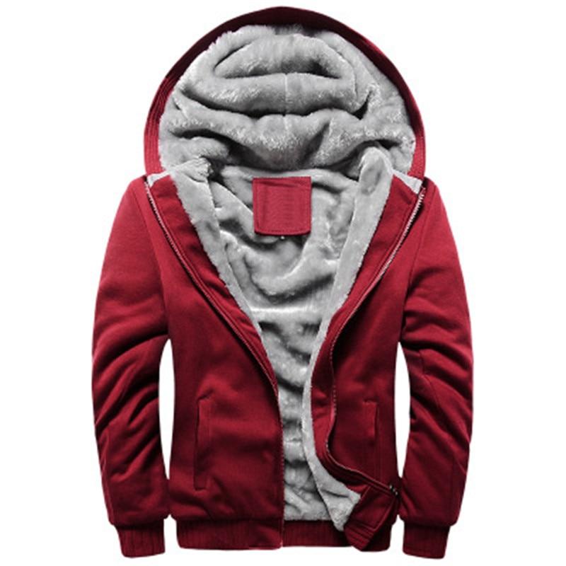 Mode De Sport Fourrure Veste Balck Hoodies Mâle Chaud Doublure Manteau red grey blue Hommes Survêtements Sweat À 2018 D'hiver Capuche Épaisse 6qSxYX7