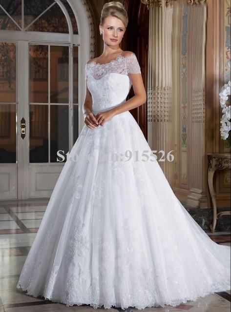 8e182000e0d 2015 New Arrival White Wedding Dress Organza Off The Shoulder Lace Boat Neck  Ball Gown Floor-Length Vestidos De Novia BC01