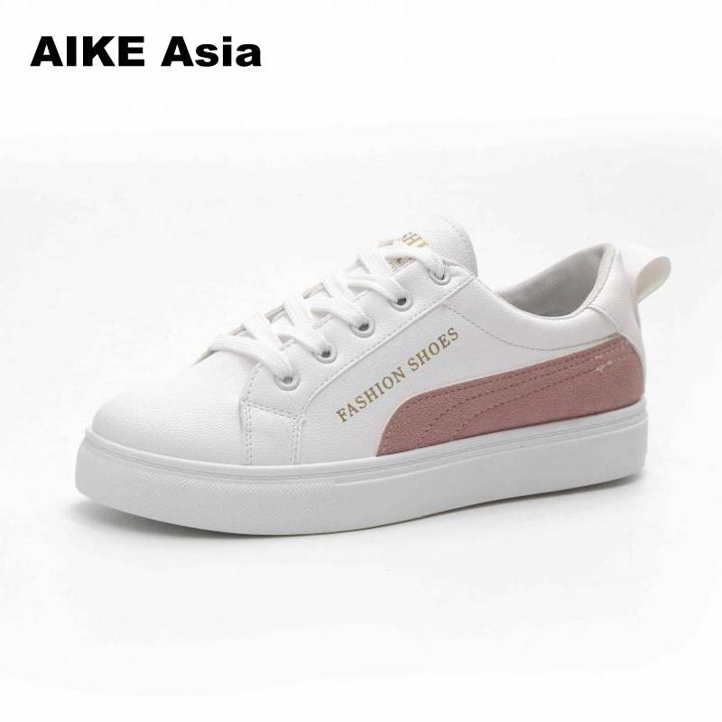 2018 Spring And Summer New White Shoes Fashion Flat Shoes Women Leather Ladies Shoes Female Sneakers Casual Breathable # 9228