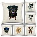 Собаки Новый Staly гостиная милый высокое качество 3D хлопок лен Подушка Santu Dea 45*45 см OM3031