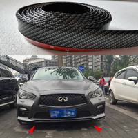 1PCS Universal PU Carbon Fiber Boky Kit ,Front lip, Side Skirt Trim 2.5 Meters for Infiniti Q50 G37