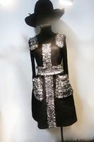Новый Небольшой аромат воздуха и черный бриллиант застежка твид ремни джемпер сезон весна лето платье