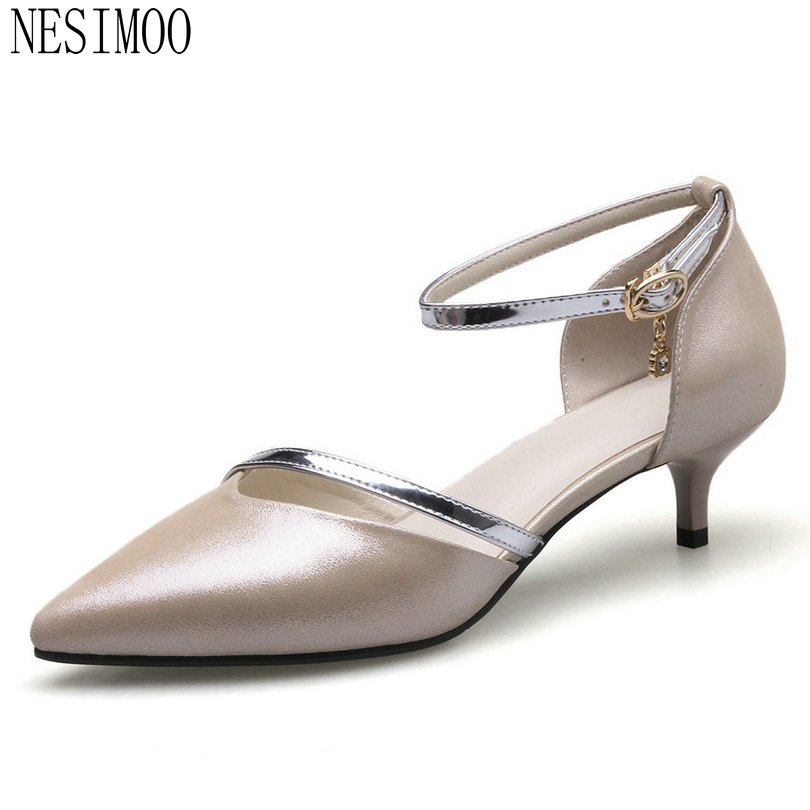 NESIMOO 2018 Women Pumps Buckle All Match Cow Leather +pu Fashion Thin High Heel Pointed Toe Platform Wedding Pumps Size 34-41