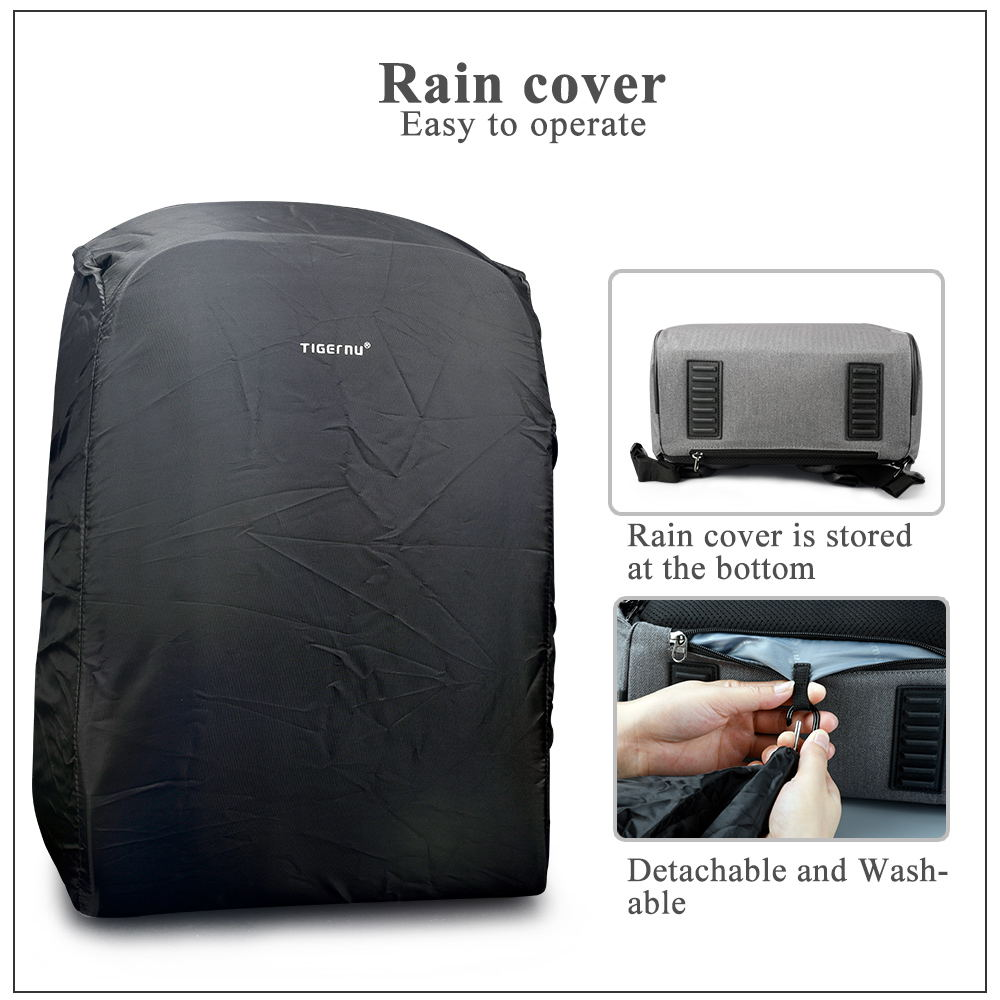 Tigernu Anti Theft 15.6inch Laptop Backpacks With Rain Cover Casual Hard Shell Men Women Mochila School Bags For Teenagers #4