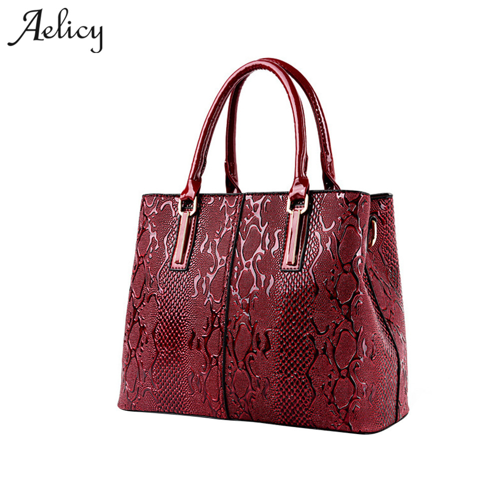 Aelicy Brand 2018 New Serpentine Pattern Womens Handbags Large Capacity PU Leather Women Bag Ladies Hand bags Bolsos Mujer 1012