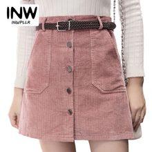cdb0cf0b2c7 2018 зима осень Вельветовая юбка Дамская мода высокая талия юбки для женщин  женская Повседневное Черный Хаки Розовый Мини Saias .