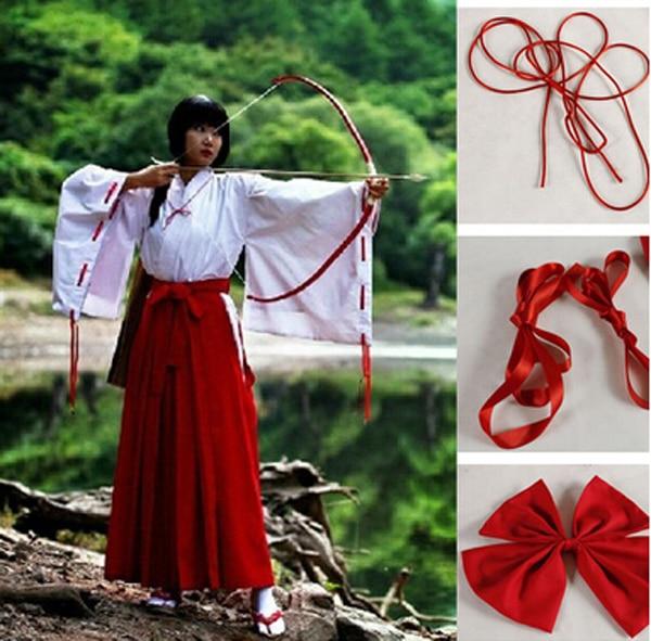 Anime Inuyasha Kikyo Kimono Cosplay Uniform Dress Women Halloween Costumes Full Set Size S M L  XL Inuyasha Kikyo Costume