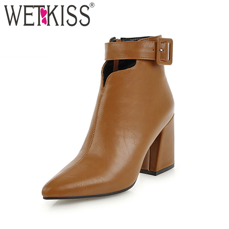 WETKISS Ankle Strap High Heels Women Boots Pointed Toe Footwear Zip Female  Boot Pu Shoes Woman 65cd884ca6f5
