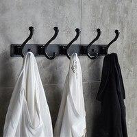5 Coat Hook Black Row Hook Aluminum Alloy Hook Free Punching Bathroom Bathroom Accessories Household Items