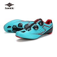 Santic Cycling Carbon Fiber Road Athletic Shoes Ultralight Breathable Sport Bike Shoes Pro Racing Self locking Bicycle Sneakers