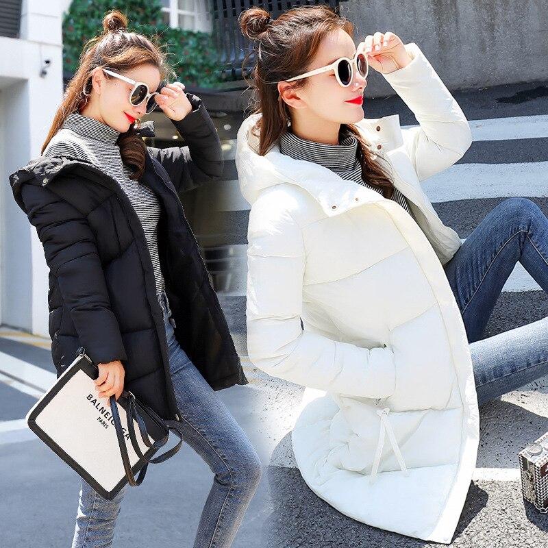 Hooded Winter   Down     Coat   Jacket Basic Long Warm Women Cotton-padded Casaco Feminino Abrigos Mujer Invierno Wadded Parkas Overcoat