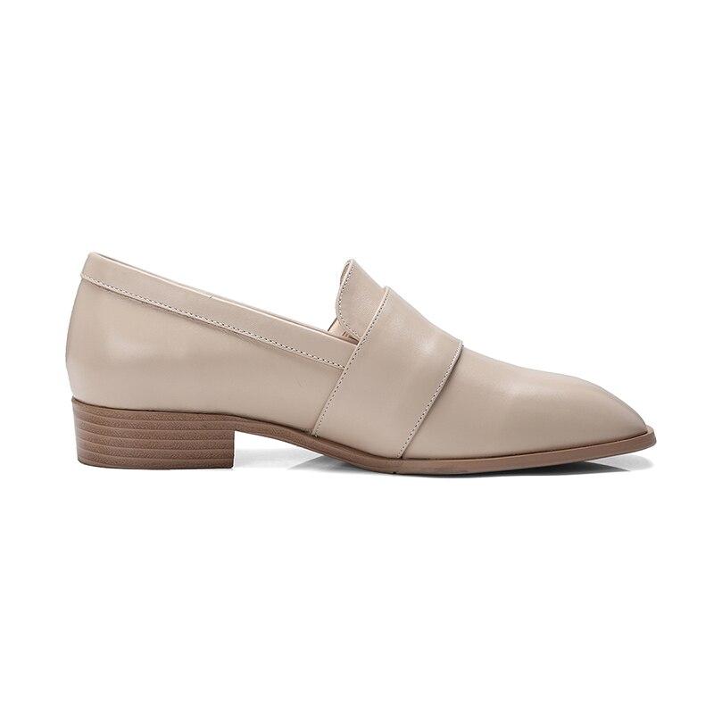 Casual Chaussures Bois Nouveau En 2019 Bas Neutre Mode Pompes Talons Wetkiss Carré Bout Femmes Véritable Cuir apricot Beige Femme gqSnwOx