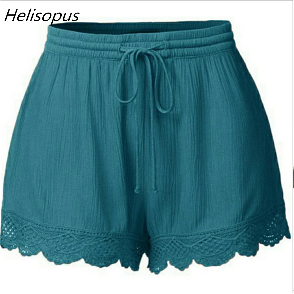 Helisopus Fashion 6 Colors Casual   Shorts   Women Summer Solid Color Lace   Shorts   Loose Drawstring   Short   Pants Plus Size M-5XL