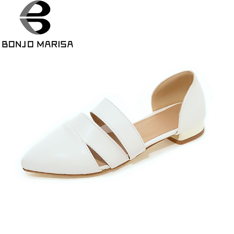 BONJOMARISA 2018 Spring Summer Fashion Large Size 32-43 Slip On Flats Shoes Women Leisure Comfortable Top Quality Female Shoes new 2017 spring summer women shoes pointed toe high quality brand fashion womens flats ladies plus size 41 sweet flock t179
