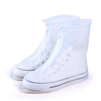 Portátil mujeres hombres zapatos de lluvia reutilizables cubierta plana impermeable negro blanco zapatos
