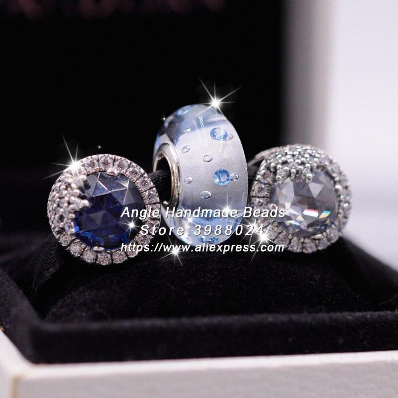 3 pièces 2018 mode S925 argent flocon de neige bleu blanc CZ charmes perle bijoux ensemble idéal pour bracelet colliers bijoux faisant femme cadeau