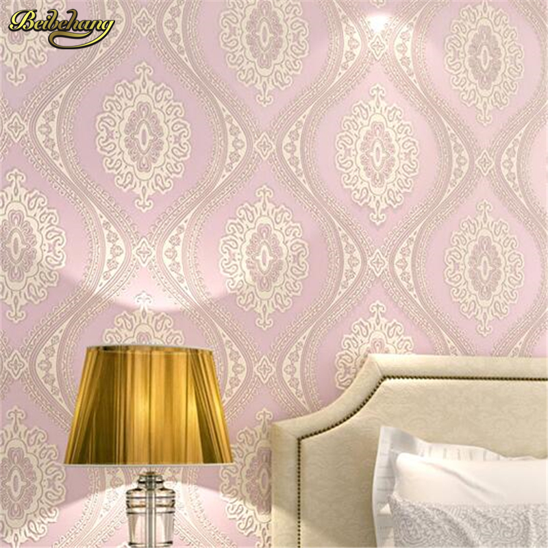 beibehang European wallpaper non - woven wallpaper 3D relief three - dimensional bedroom living room TV backdrop papel de parede