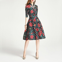 2019 spring and autumn woman dress in the sleeves dot print flowers retro big temperament plus size plus vintage dress h47