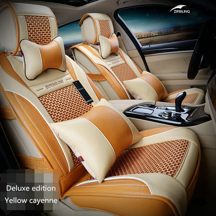 Car Travel Brand New styling Luxury Front & Rear Leather Car Seat Covers car cushion Set for Universal 5 Seat Car Four Season car seat cushion for landrover for volvo for porsche brown beige red brand luxury pu leather front