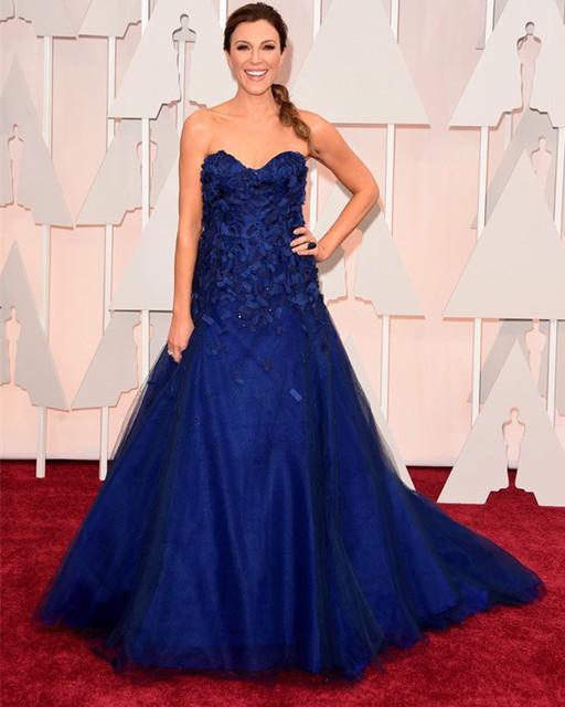 Elegante Una Línea Azul Oscar Vestidos de La Celebridad 2017 Sweetheart Fuera Del Hombro Tulle Apliques Rebordear Vestidos de la Alfombra Roja