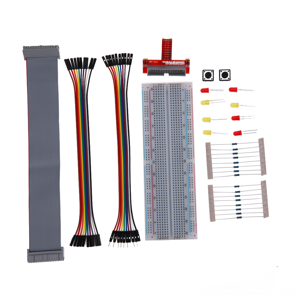 Full Function Breadboard Demo Prototyping Starter Primer External Expansion Bread Board Jumper Wire Kit For Raspberry Pi 3
