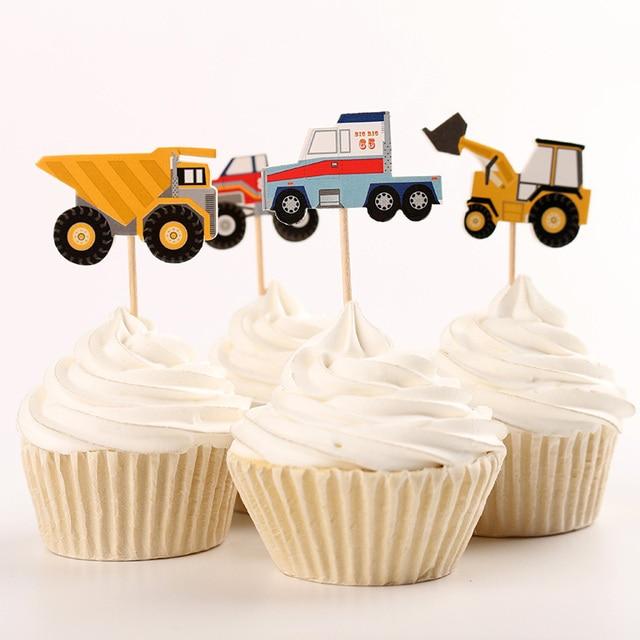 Us 11 26 19 Off 48 Stucke Papier Lkw Traktor Kuchen Topper Segeln Obst Aufkleber Cupcake Dekoration Kinder Birthday Party Supplies Dec070 In 48