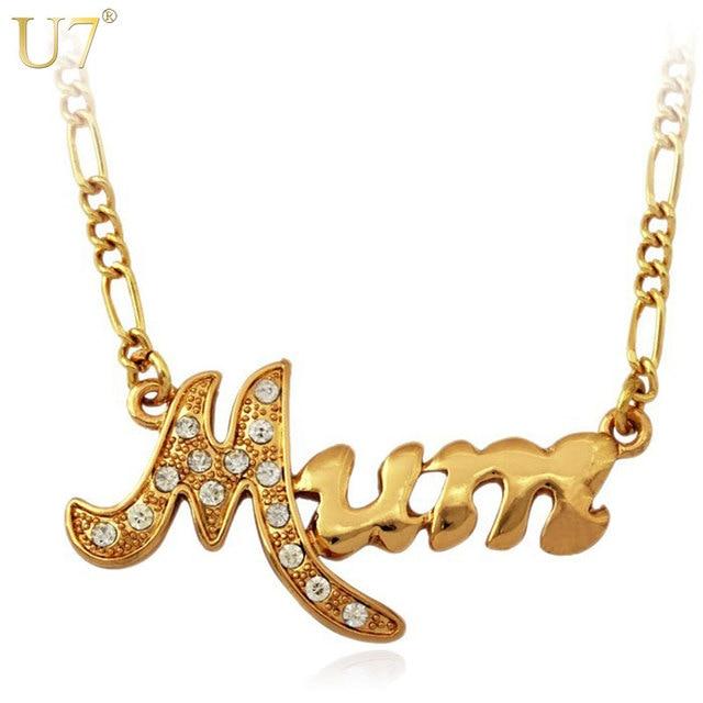 U7 mothers day mum necklace wholesale jewelry gifts goldsilver u7 mothers day mum necklace wholesale jewelry gifts goldsilver color rhinestone necklaces pendants aloadofball Image collections