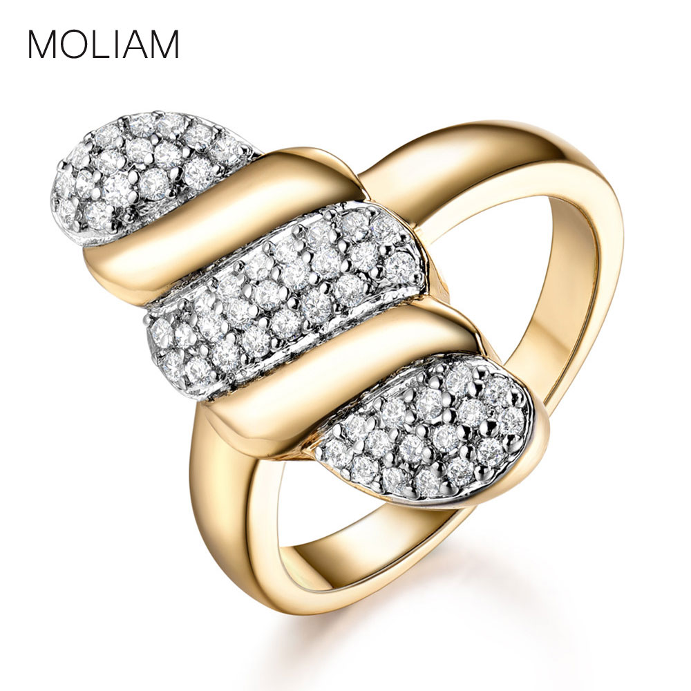 MOLIAM Brand Ladies Rings Gold-Color Tiny Cubic Zirconia Midi Finger Ring Women New Unique Design Fashion Jewelry 2017 MLR572