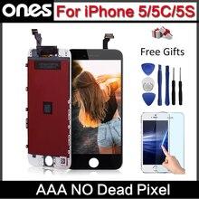 Mejor calidad aaa sin píxeles muertos lcd pantalla para iphone 5s iphone 5c iphone 5 lcd pantalla táctil digitalizador de reemplazo completo asamblea