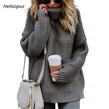 Helisopus 2018 mujeres del invierno del otoño suéter de Color sólido cuello  alto suéteres de manga larga Mujer Casual suéteres c2e33b34eb6c