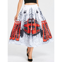 LANGSTAR 2018 New Spring Pleated Skirt Streetscape Print Long Skirt Casual A Line White High Waist