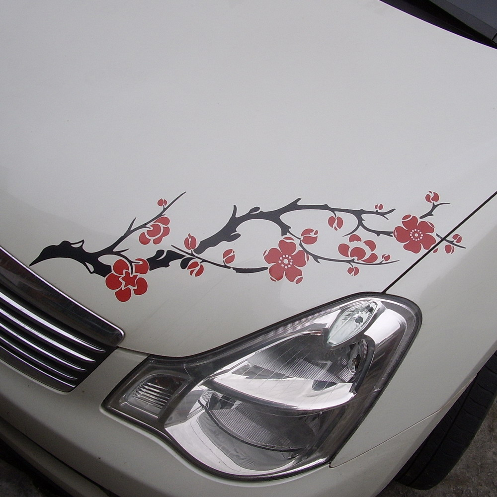 Aliexpresscom Buy Car Flowers Ume Blossoms Hood Headlight Decal - Cool car decals designcar foil hood stickerscustom car body side sticker design buy