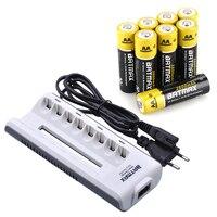 8 Pcs Bateria Recarregável AA NiMH AA 1.2 V 2800 mAh 2A Baterias Bateria Recarregável Pré-carregada + 8 Slots AAA/AA Carregador de Bateria