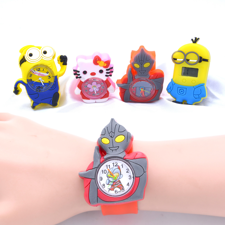 Child Cartoon Watches Lovely Silicone Band Slap Watch Kids Cartoon Hero Clock Quartz Wristwatch Children Gift