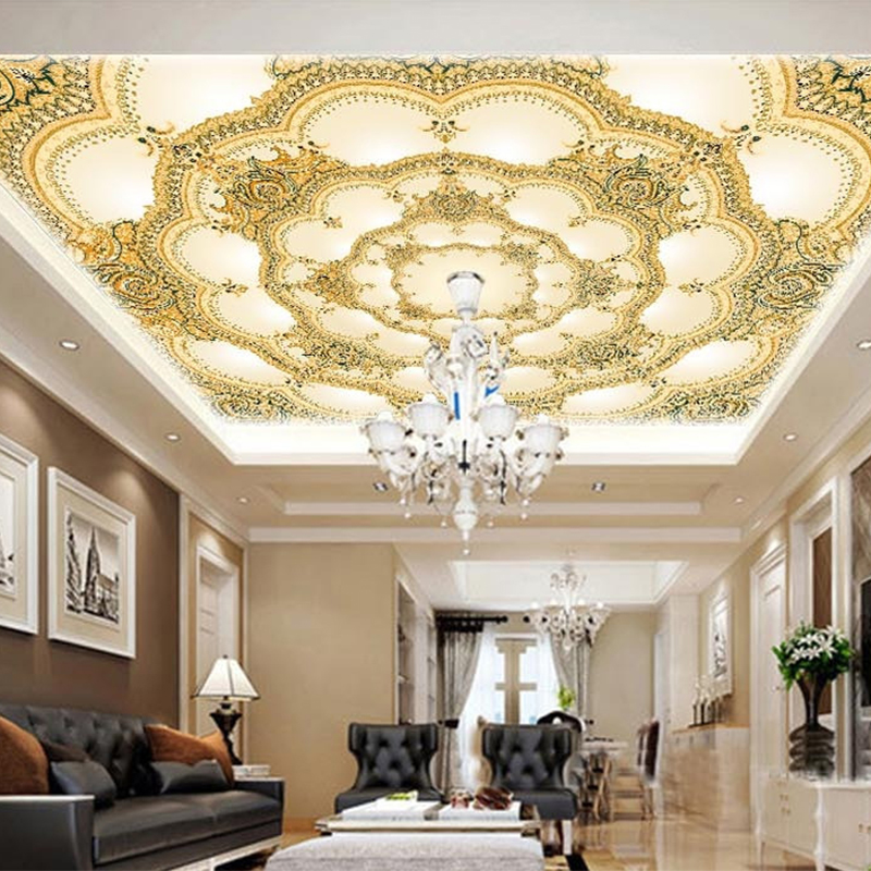 European Style Luxury Wallpaper Hotel Living Room 3D Ceiling Mural Landscape Photo Wall Paper Eco-Friendly Non-Woven Home Decor