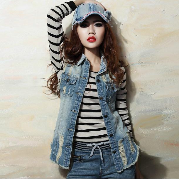 Women's Retro Washed Sleeveless Personalized   Cardigan Jeans Denim Vest Waistcoat Coat Jacket  Free Shipping