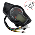 12V DC MPH/KMH Motorcycle LCD Digital Odometer Speedo Meter Tachometer Instruments Backlight Tire Size Adjust 22000RPM