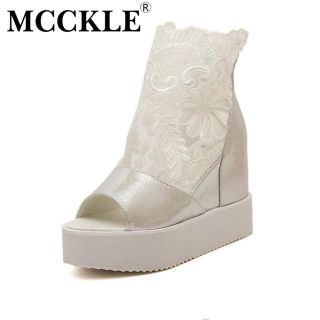 Mcckle mulher moda verão sandálias botas mulheres botas de plataforma plana de couro + malha respirável altura crescente sapatos peep toe com zíper