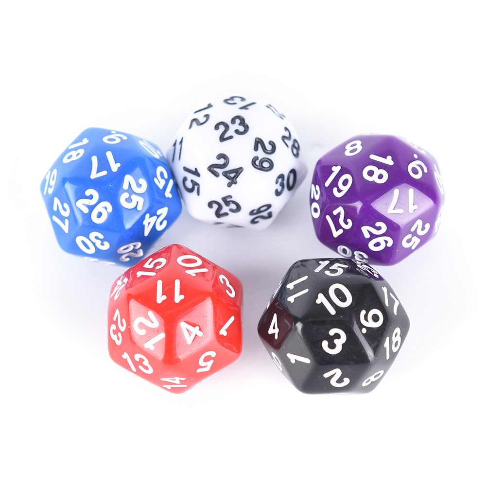 5 Colors 25mm 30 Sided Dice High Quality Plastic Cubes Dice