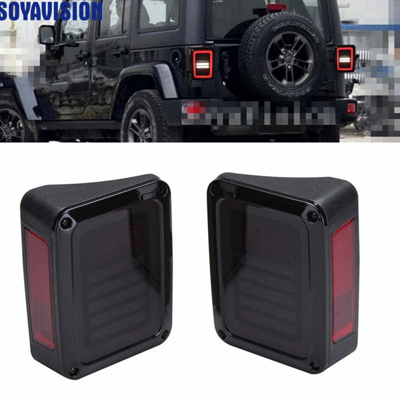 For 07 16 Jeep Wrangler LED Tail Lights Rear Brake Reverse Lamps For Sahara Freedom Rubicon