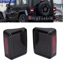 For 07 16 Jeep Wrangler LED Tail Lights Rear Brake Reverse Lamps For Sahara, Freedom Rubicon 2007   2016 LED Brake Tail Lights