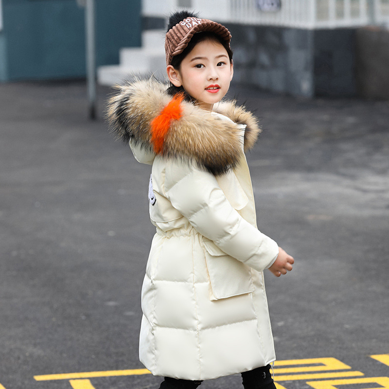Children's Down Jackets 2018 Girl Winter Coat Casual Long Hooded Multicolor Fur Collar Thick Warm Kids Overcoats Girl Clothing